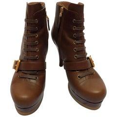 Fendi Camel Brown Combat Heeled Buckle Boots