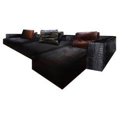 Fendi Casa Black Crocodile Leather Domino Modular Sofa 3-Seat Sectional, Italy