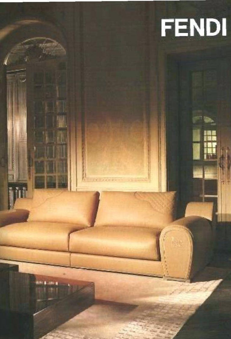 Modern Fendi Casa Modular Sofa Varenne Cognac Saddle Leather Horse Villa Borghese Italy For Sale