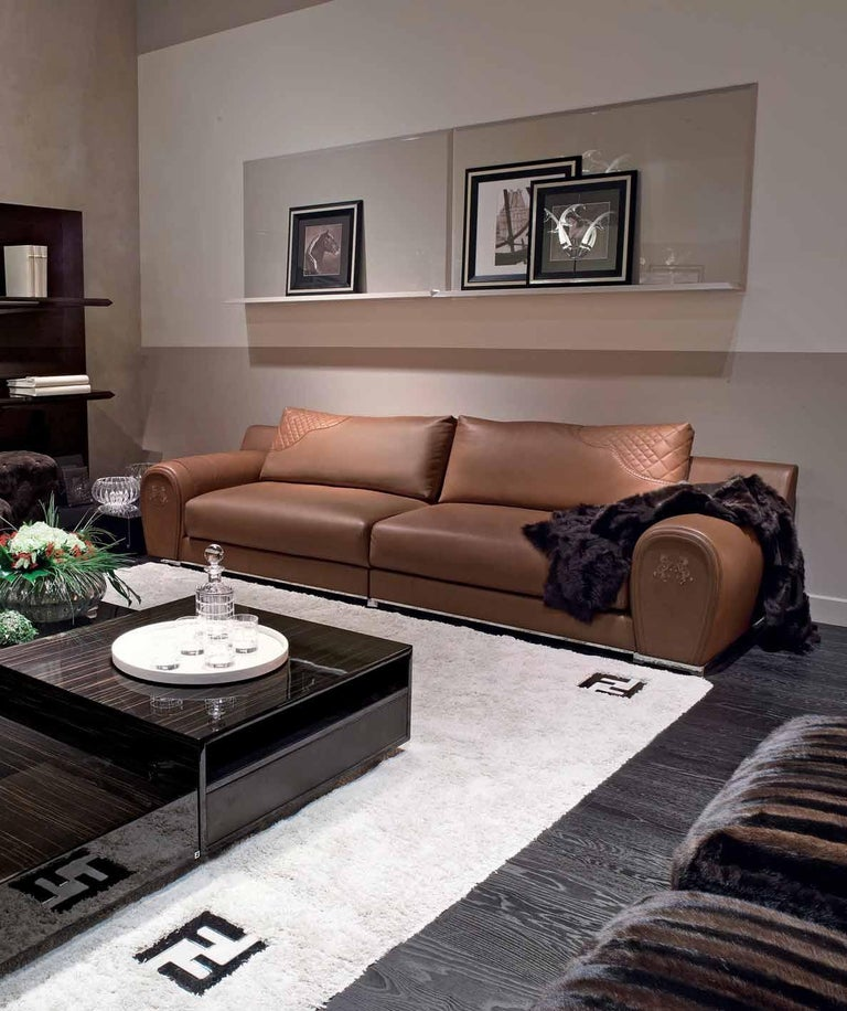 Fendi Casa Modular Sofa Varenne Cognac Saddle Leather Horse Villa Borghese Italy In Good Condition For Sale In Brooklyn, NY