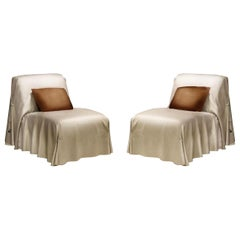 Fendi Casa Tunica Italian Leather Lounge Chair, Modern Sculptural Slipper Chair