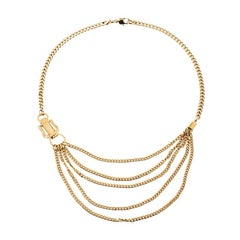 Fendi Chain Link Gold Tone Layered Necklace