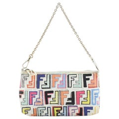 Fendi Chain Pochette Zucchino Coated Canvas