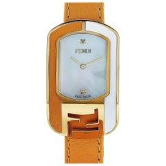 Fendi Chameleon Gold-Tone Tan and White Leather Quartz Watch F334434551D1