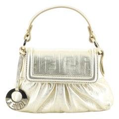 Fendi Chef Handle Bag Zucca Embossed Leather Mini