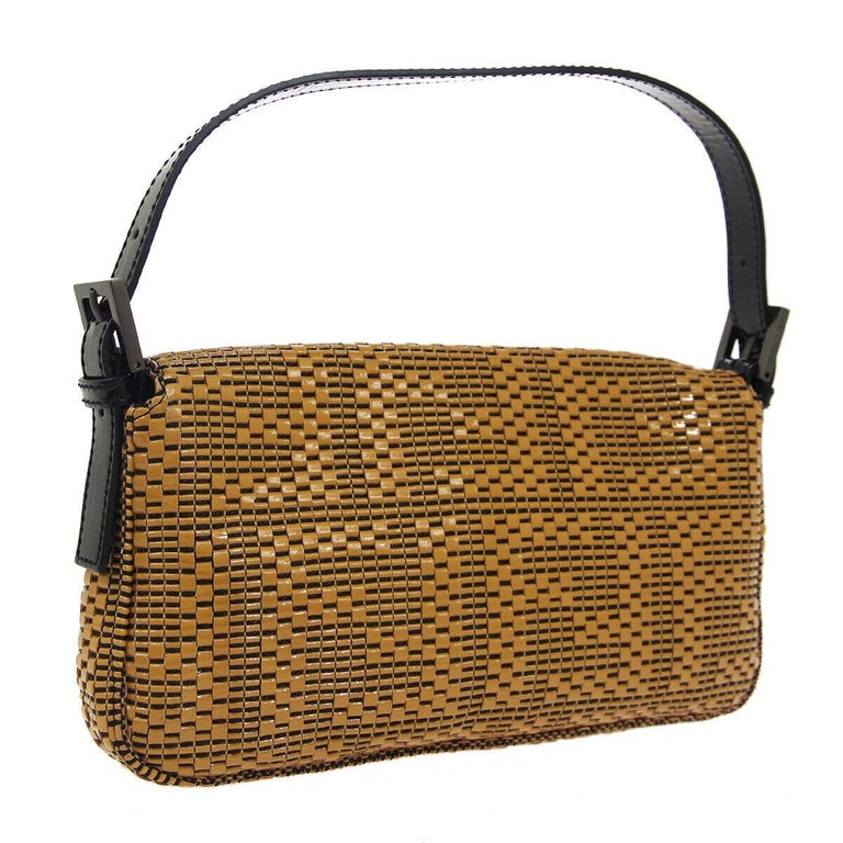 Fendi Cognac Black Logo Patent Leather Top Handle Satchel Shoulder Flap Bag In Good Condition For Sale In Chicago, IL