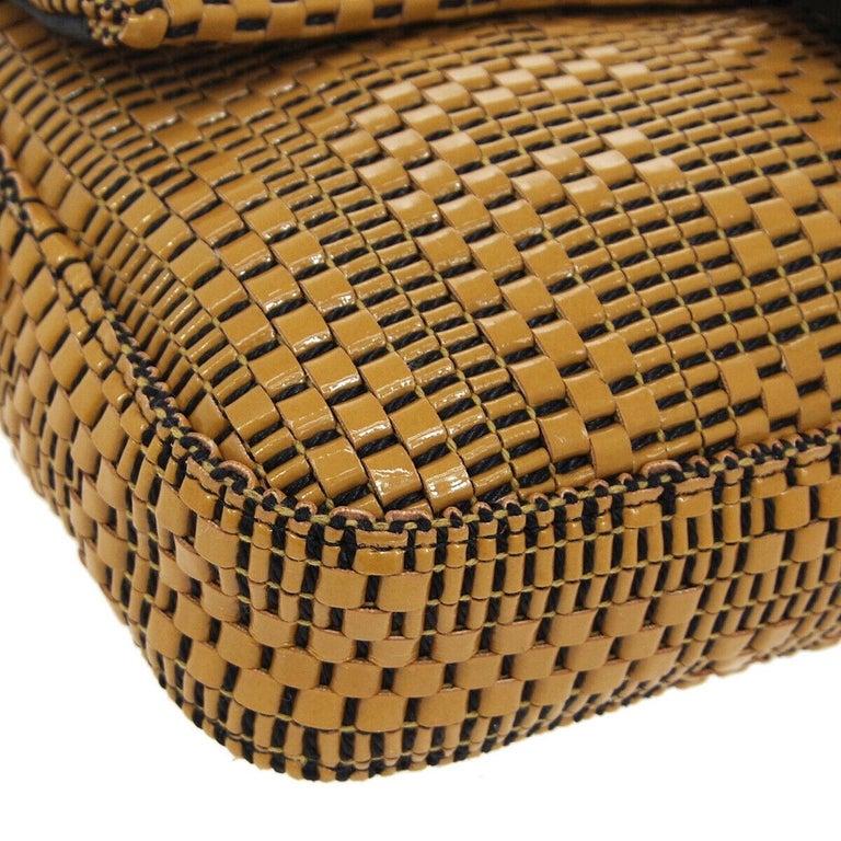 Fendi Cognac Black Logo Patent Leather Top Handle Satchel Shoulder Flap Bag For Sale 1