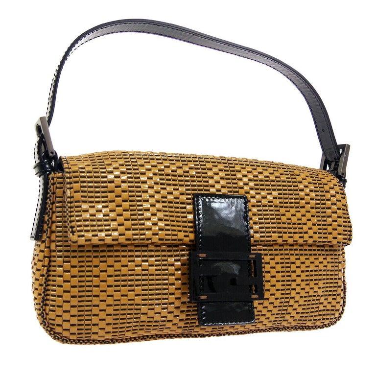 Fendi Cognac Black Logo Patent Leather Top Handle Satchel Shoulder Flap Bag For Sale