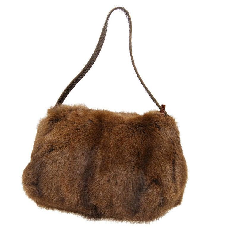 Fendi Cognac Brown Fur Exotic Leather Gold Medium Evening Shoulder Flap Bag In Excellent Condition In Chicago, IL