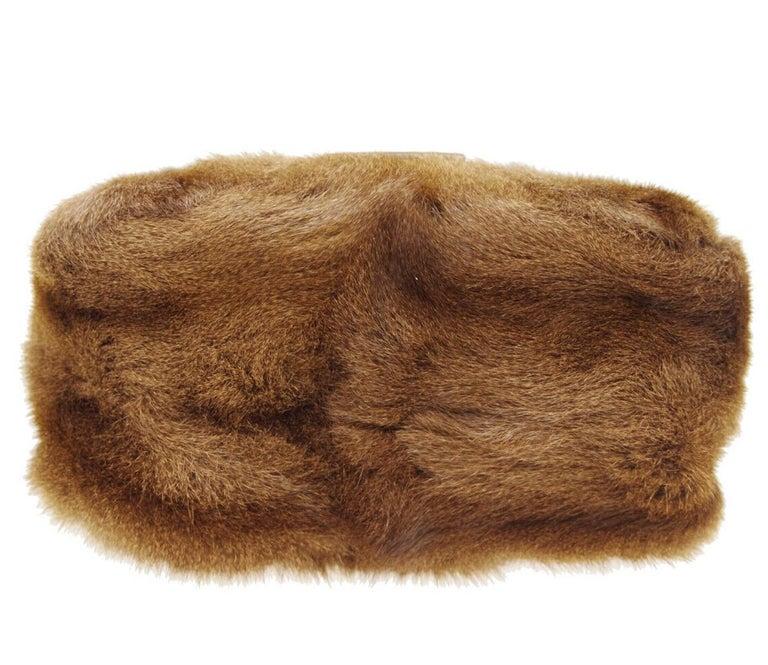 Women's Fendi Cognac Brown Fur Exotic Leather Gold Medium Evening Shoulder Flap Bag