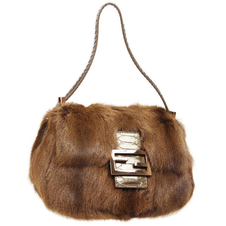Fendi Cognac Brown Fur Exotic Leather Gold Medium Evening Shoulder Flap Bag