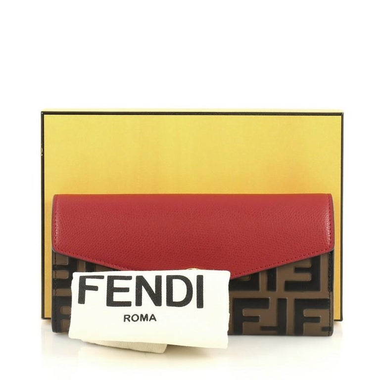 b1c054406d Fendi Continental Envelope Wallet Leather and Logo Embossed Leather