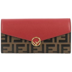 Fendi Continental Envelope Wallet Leather and Logo Embossed Leather