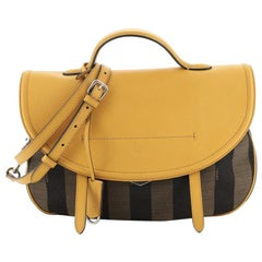 Fendi Convertible Messenger Bag Pequin Striped Canvas and Leather