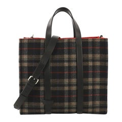 Fendi Convertible Open Tote Tartan Wool And Leather Large