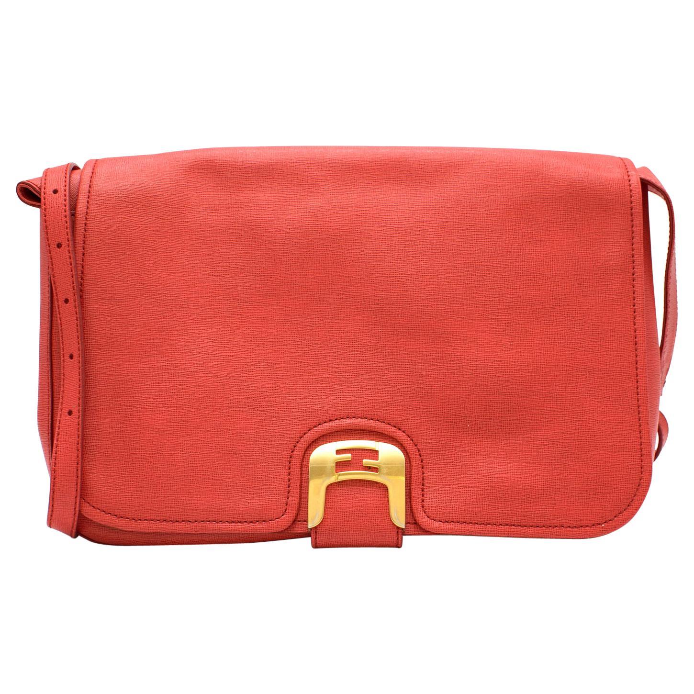 Fendi Coral Coated Canvas Crossbody Bag