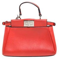 Fendi Coral Orange Leather Micro Peekaboo Top Handle Bag