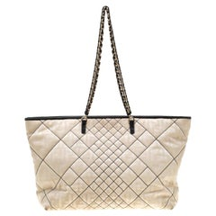 Fendi Cream/Black Quilted Zucca Nylon Roll Large Shopper Tote