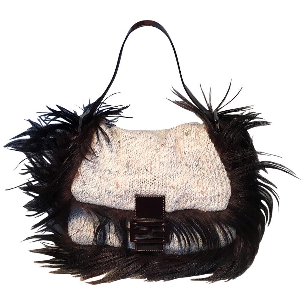 Fendi Cream Knit Crochet Long Fur Trim Baguette Shoulder Bag