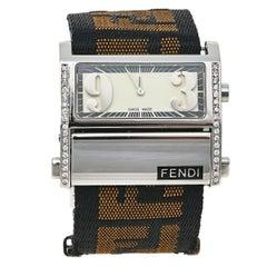 Fendi Cream Stainless Steel and Canvas Diamond Women's Wristwatch 38 mm