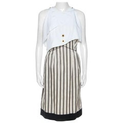 Fendi Cream Striped Silk Blend Cape Detail Dress M