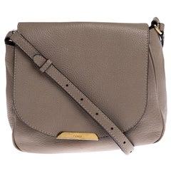 Fendi Dark Beige Leather Crossbody Bag