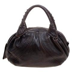 Fendi Dark Brown Leather Large Spy Hobo