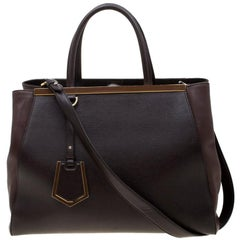 Fendi Dark Brown Leather Medium 2jours Tote