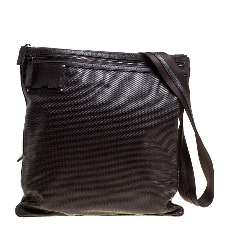 082dac0f9522 Fendi Dark Brown Woven Embossed Leather Flat Messenger Bag For Sale ...