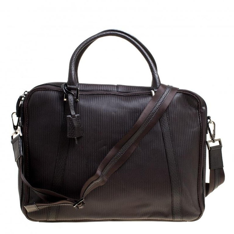 d7c50aae5cdc Fendi Dark Brown Woven Embossed Leather Laptop Bag For Sale at 1stdibs
