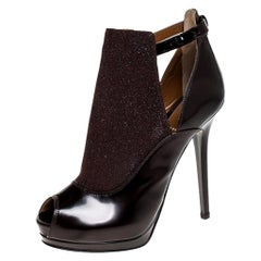 Fendi Dark Burgundy Glitter and Leather Peep Toe Platform Booties Size 39