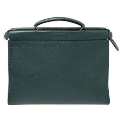 Fendi Dark Green Selleria Leather Peekaboo Iconic Fit Briefcase