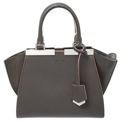 Fendi Dark Grey Leather Mini 3Jours Tote