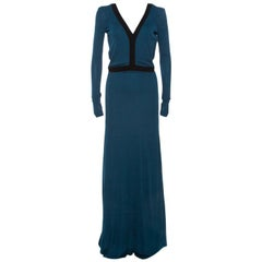 Fendi Dark Teal Jersey Backless Maxi Dress S