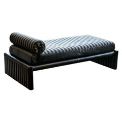Fendi Daybed Chaise, Black Leather and Fendi Stripe, Italy, 1980s