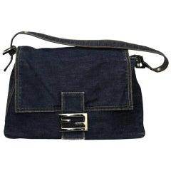 Fendi Denim Canvas Shoulder  Baguette Bag