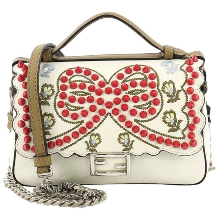25f935a0d0 Fendi Double Baguette Embroidered Studded Leather Micro For Sale at ...