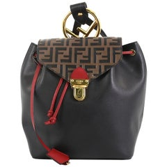Fendi Drawstring Flap Backpack Leather and Logo Embossed Leather Small