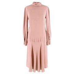 Fendi Dusky Pink Silk Blend Dress With Neck Tie - Size US 6