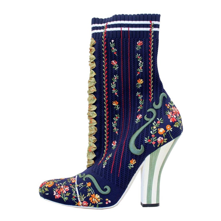 Fendi Embroidered Sock Ankle Boots 40 For Sale At 1stdibs