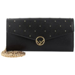 Fendi F Is Fendi Envelope Wallet on Chain Studded Leather