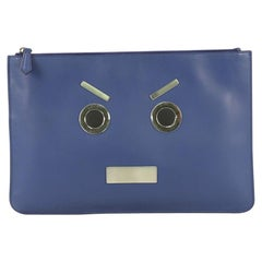Fendi Faces Pouch Leather Medium