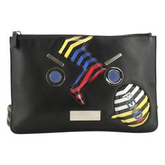 Fendi Faces Pouch Printed Leather Medium