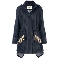 Fendi Faux Pearl Embellished Denim Coat