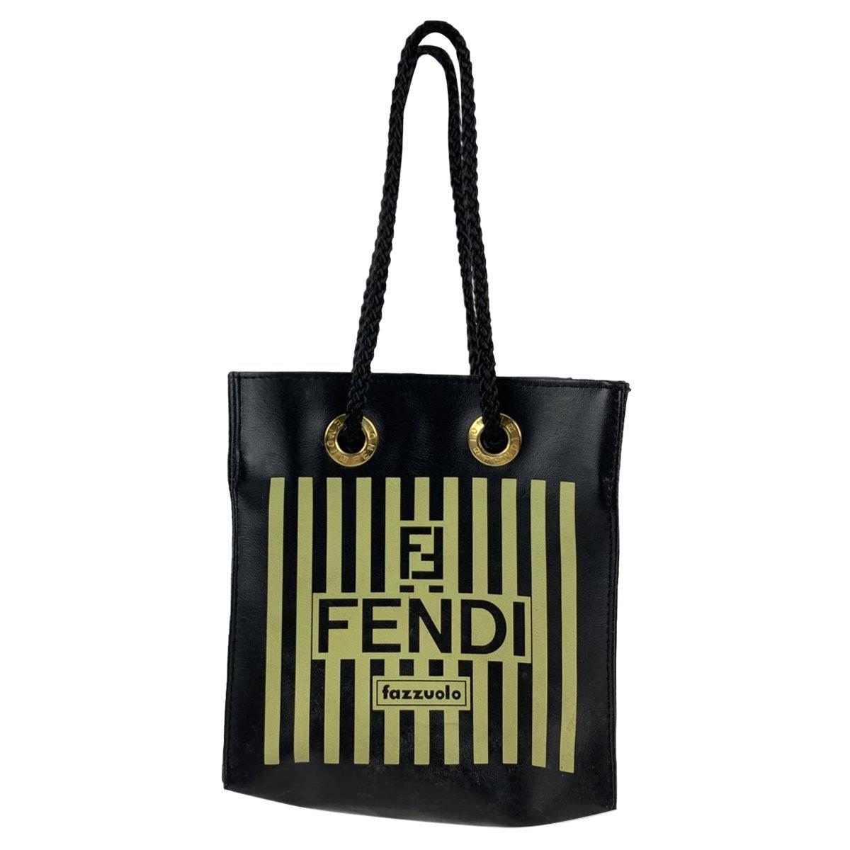 Fendi Fazzuolo Rare Vintage Striped Canvas Mini Tote Bag Handbag
