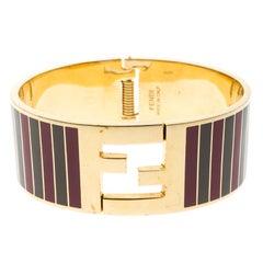 Fendi Fendista Grey and Fuschia Striped Enamel Gold Tone Wide Bracelet S