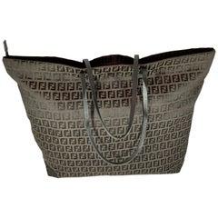 Fendi FF print tote bag - women - Leather/Nylon - One Size - Brown Large
