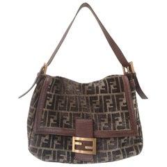 Fendi FF Suede and leather shoulder bag