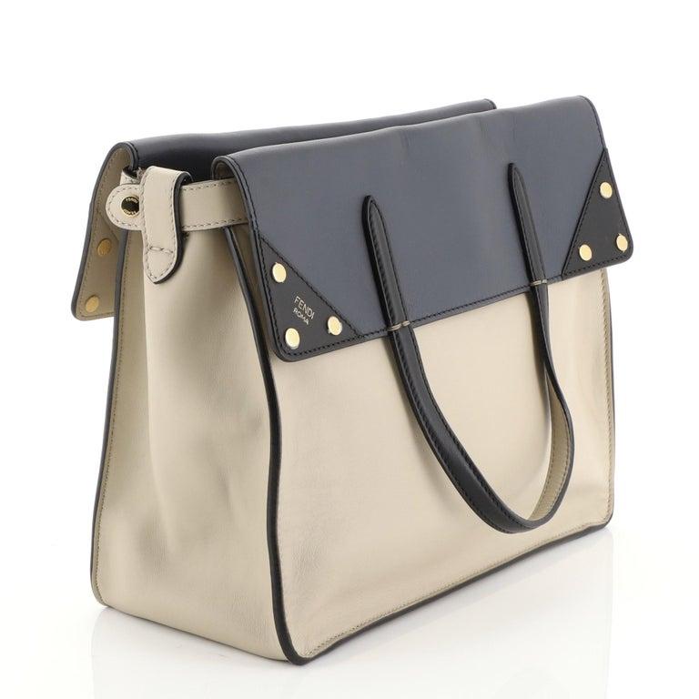 Brown Fendi Flip Grace Convertible Tote Leather Regular