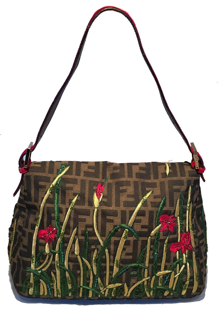 Black Fendi Floral Embroidered Beaded Monogram Zucca Print Large Baguette For Sale